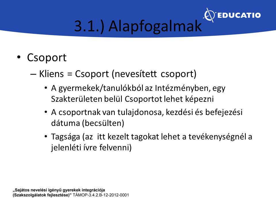 3.1.) Alapfogalmak Csoport Kliens = Csoport (nevesített csoport)