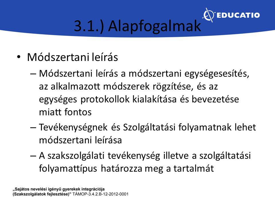 3.1.) Alapfogalmak Módszertani leírás