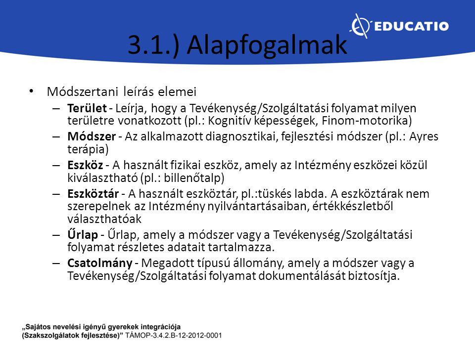 3.1.) Alapfogalmak Módszertani leírás elemei