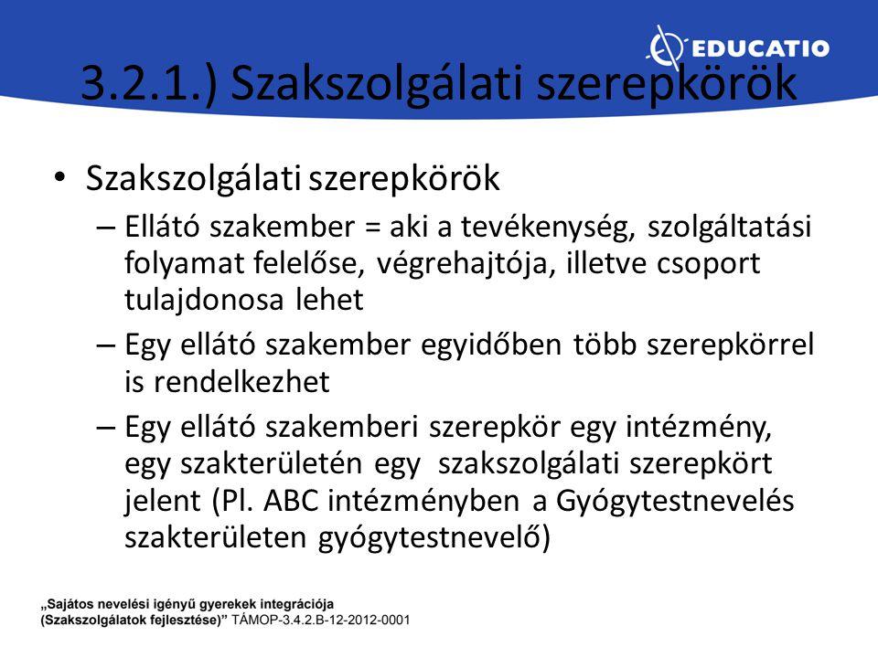3.2.1.) Szakszolgálati szerepkörök