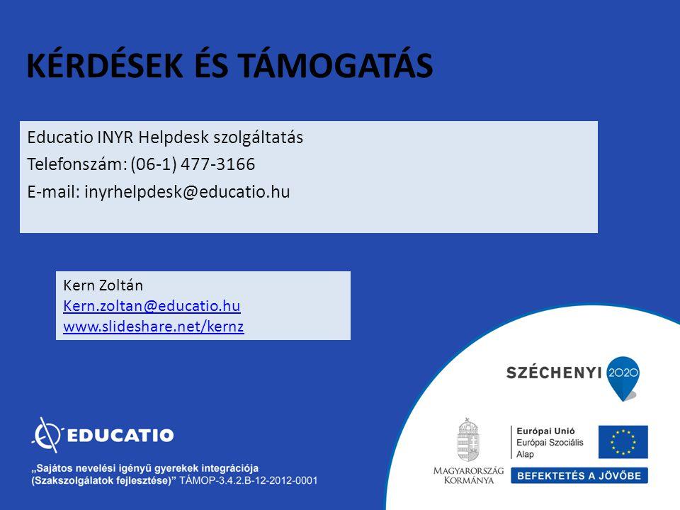 Kérdések és támogatás Educatio INYR Helpdesk szolgáltatás