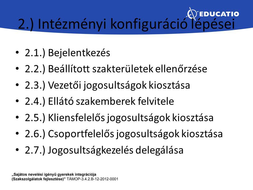 2.) Intézményi konfiguráció lépései