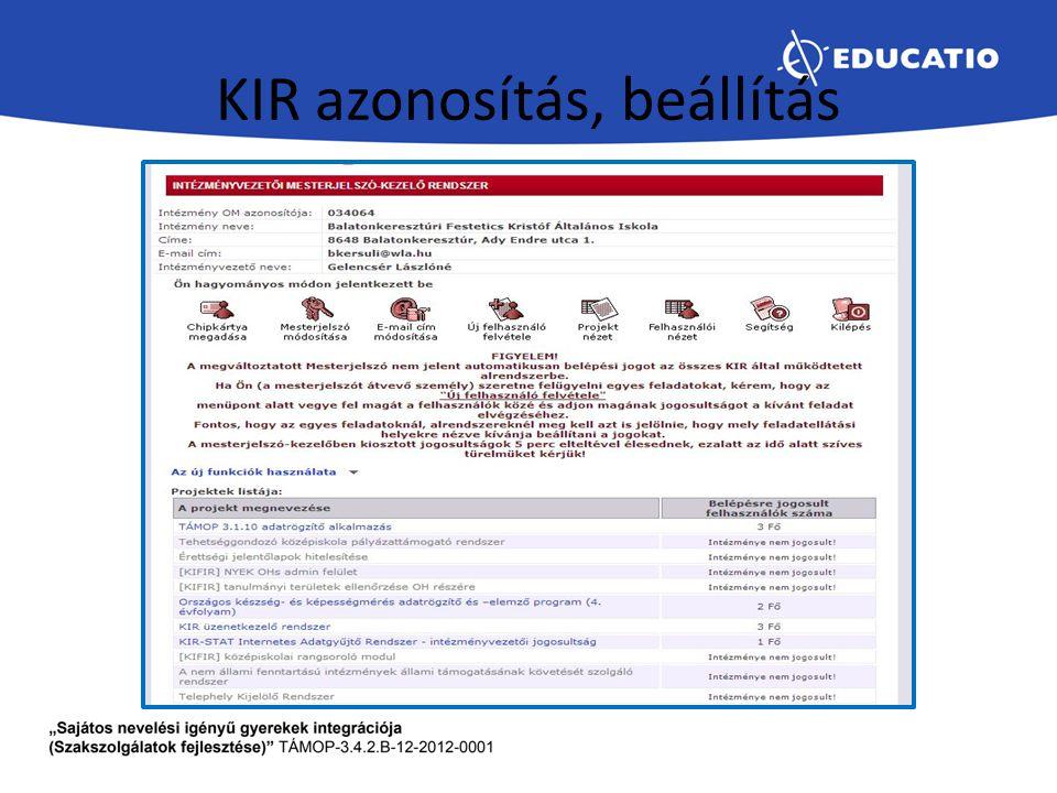 KIR azonosítás, beállítás