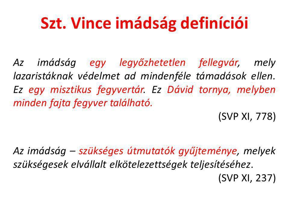 Szt. Vince imádság definíciói