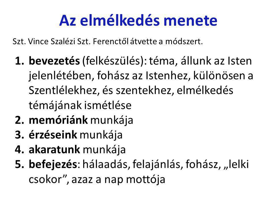 Az elmélkedés menete Szt. Vince Szalézi Szt. Ferenctől átvette a módszert.