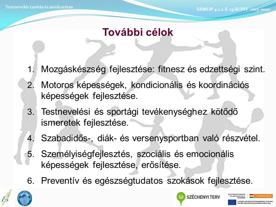 További célok Mozgáskészség fejlesztése: fitnesz és edzettségi szint.