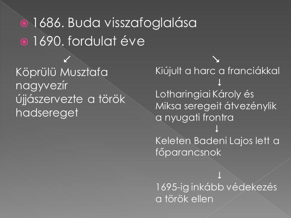 1686. Buda visszafoglalása 1690. fordulat éve  