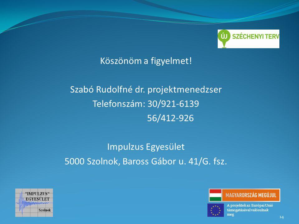 Szabó Rudolfné dr. projektmenedzser Telefonszám: 30/921-6139