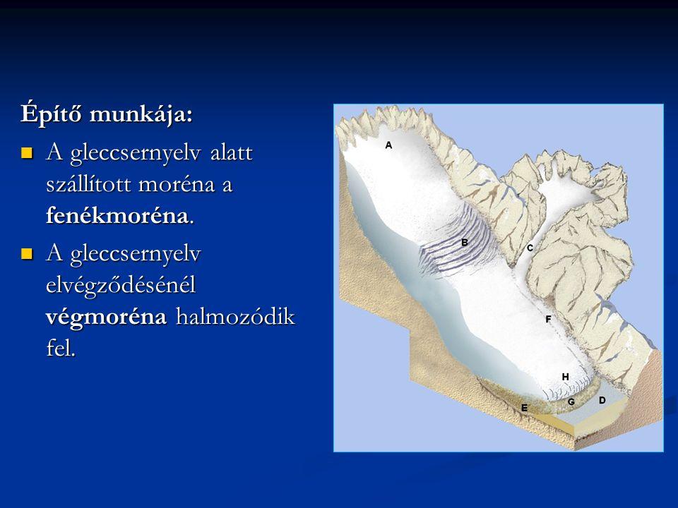 Építő munkája: A gleccsernyelv alatt szállított moréna a fenékmoréna.