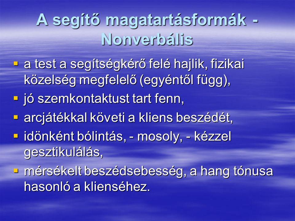 A segítő magatartásformák - Nonverbális