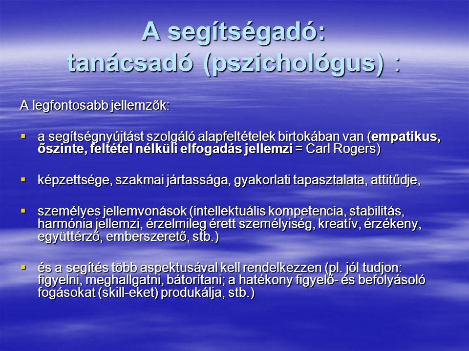 A segítségadó: tanácsadó (pszichológus) :