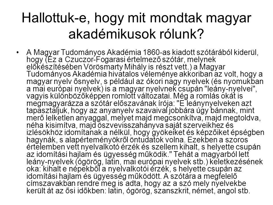 Hallottuk-e, hogy mit mondtak magyar akadémikusok rólunk