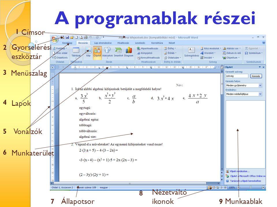 A programablak részei Címsor Gyorselérési eszköztár Menüszalag Lapok