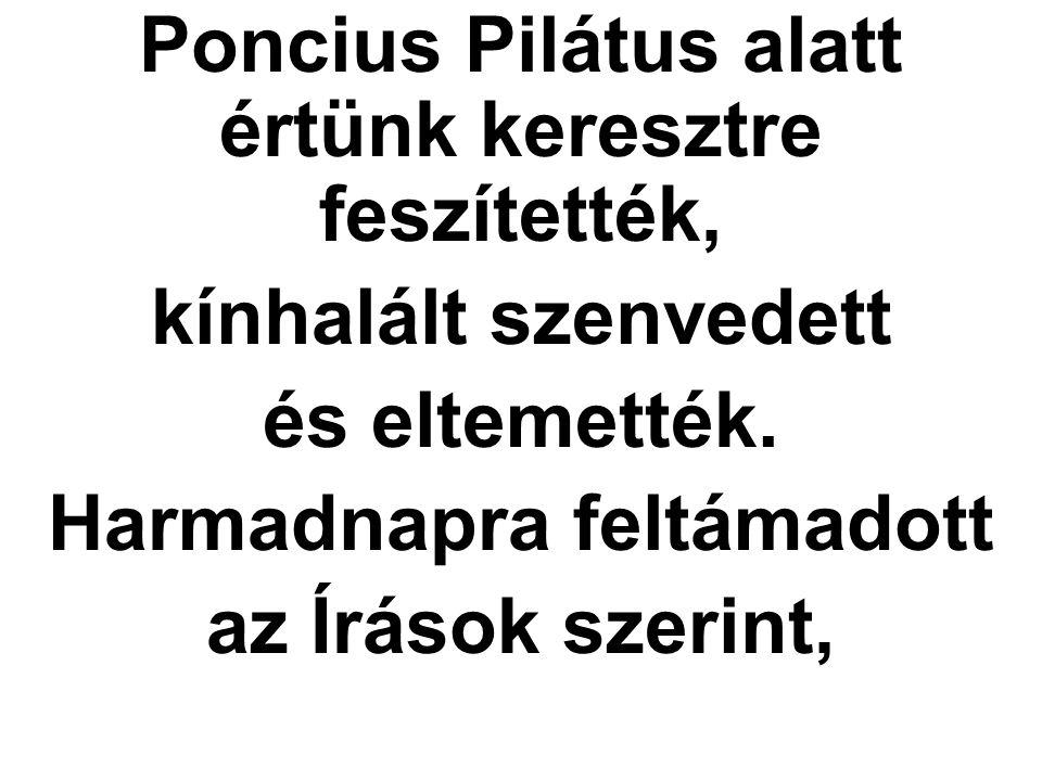 Poncius Pilátus alatt értünk keresztre feszítették,