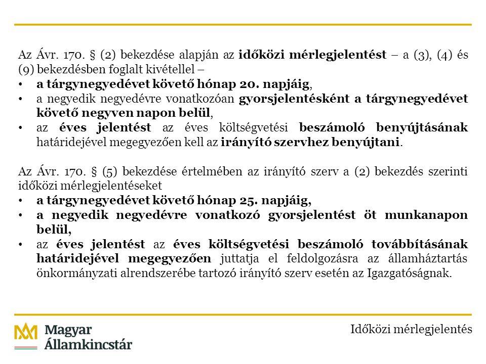 Az Ávr. 170. § (2) bekezdése alapján az időközi mérlegjelentést – a (3), (4) és (9) bekezdésben foglalt kivétellel –
