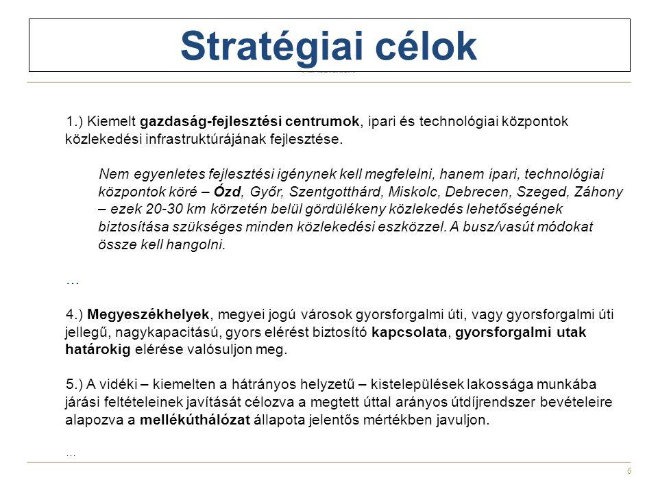 Stratégiai célok 1.) Kiemelt gazdaság-fejlesztési centrumok, ipari és technológiai központok közlekedési infrastruktúrájának fejlesztése.