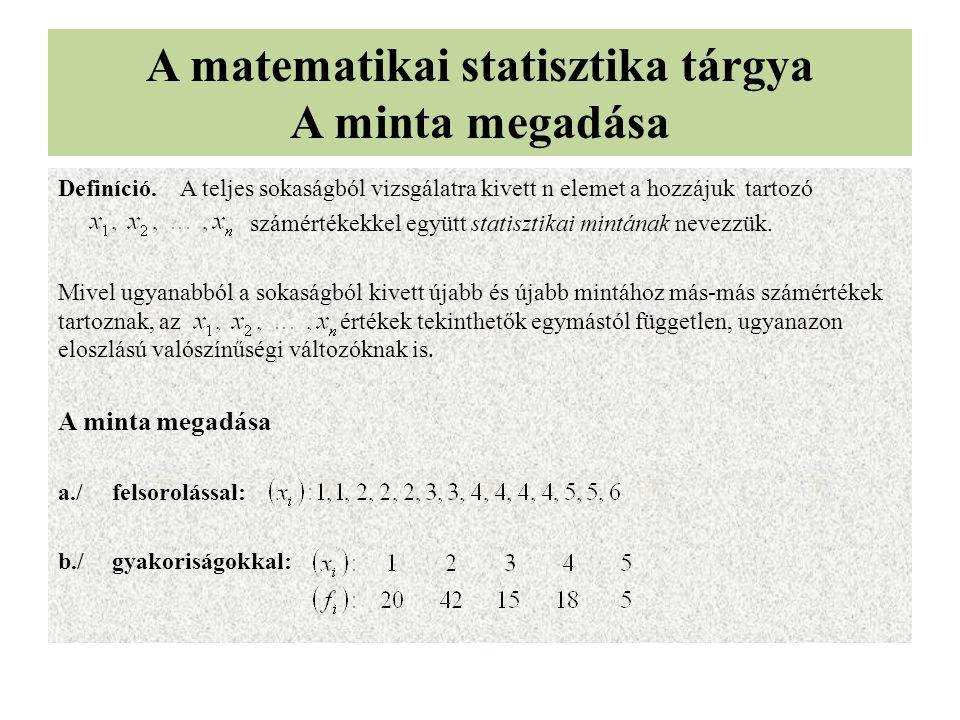 A matematikai statisztika tárgya A minta megadása