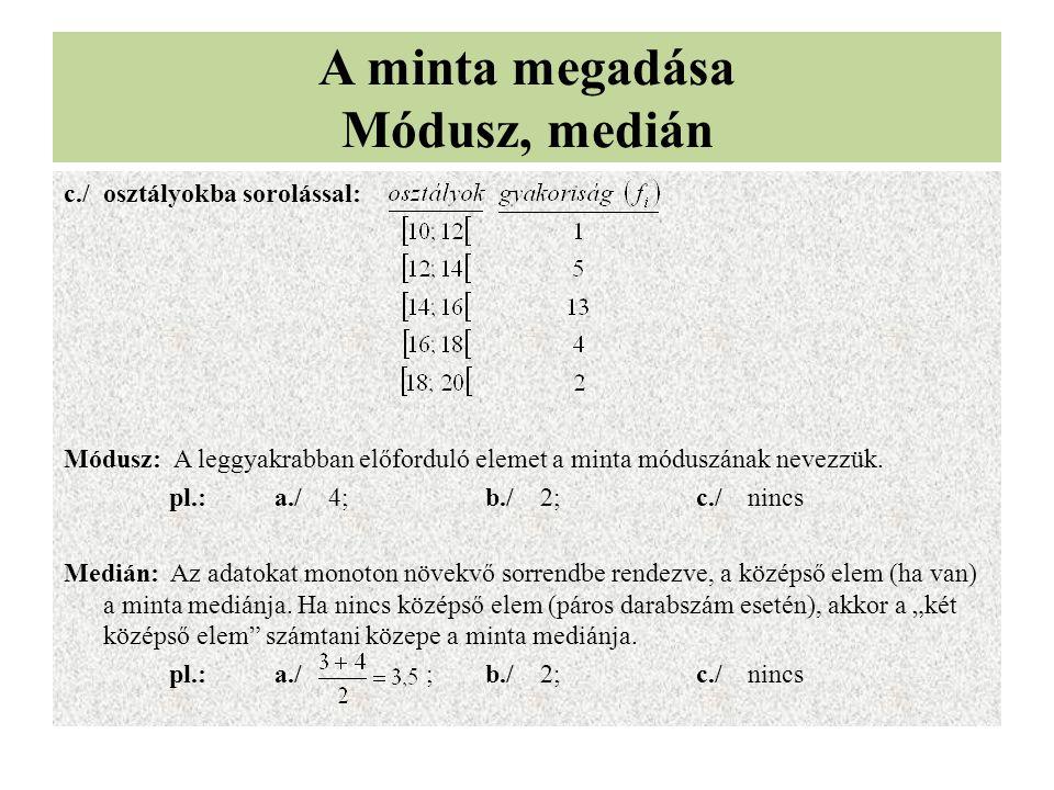 A minta megadása Módusz, medián