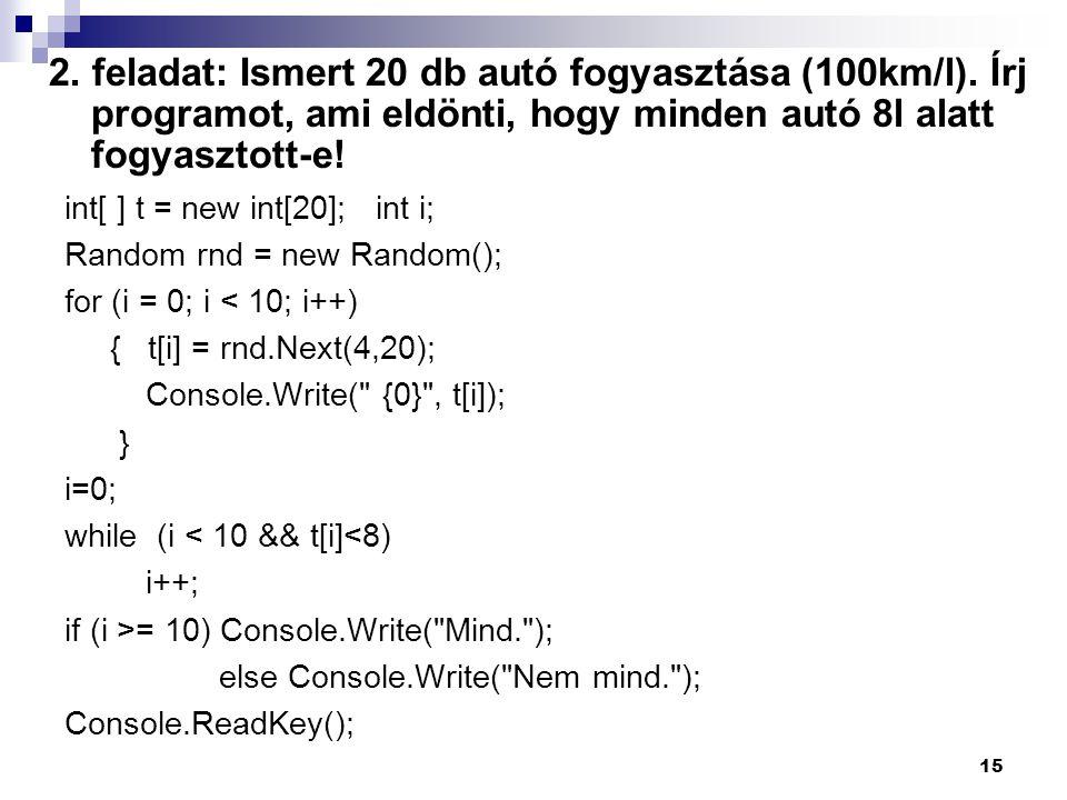 2. feladat: Ismert 20 db autó fogyasztása (100km/l)