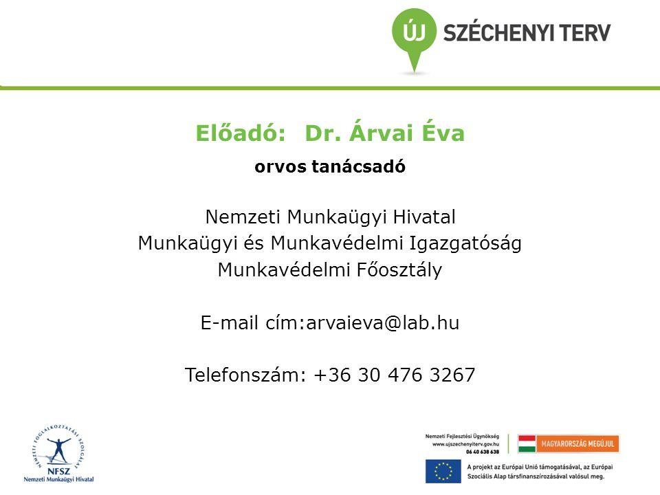 Előadó: Dr. Árvai Éva orvos tanácsadó