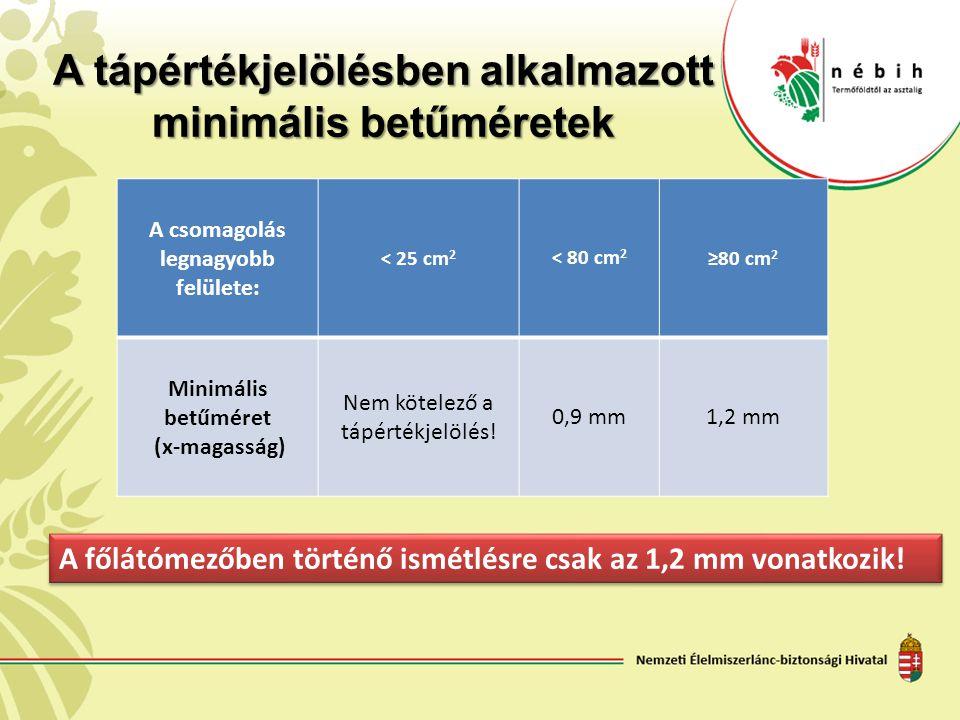 A tápértékjelölésben alkalmazott minimális betűméretek