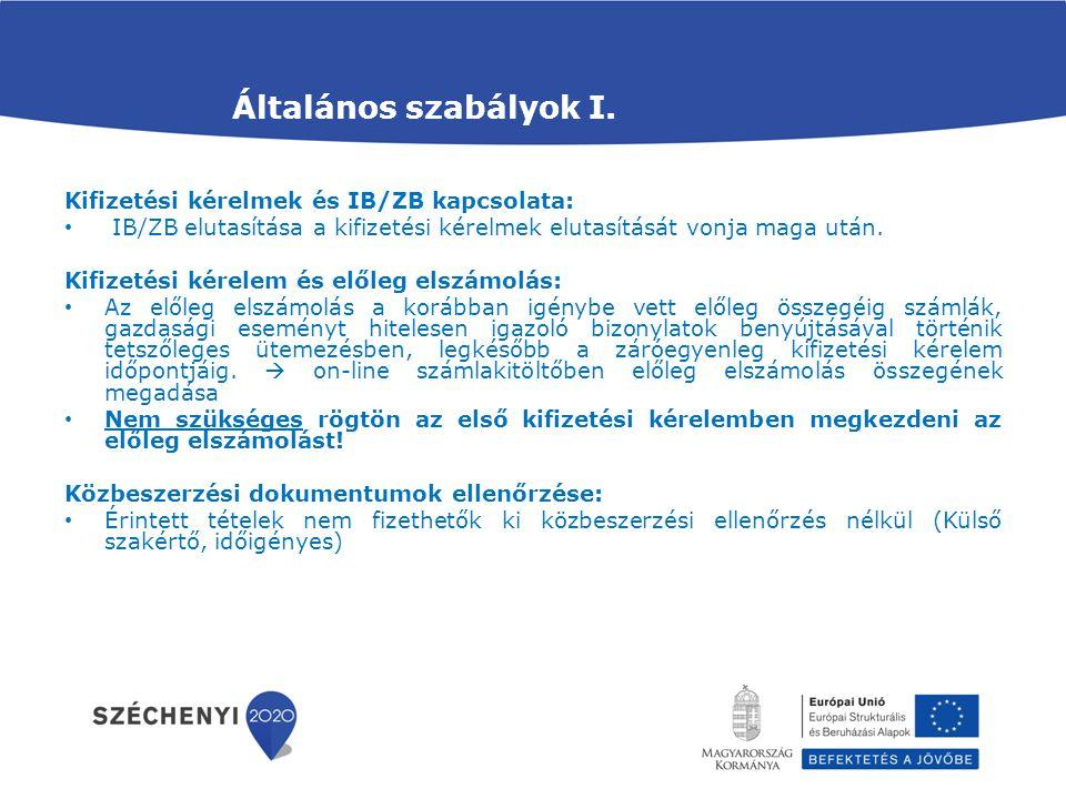 Általános szabályok I. Kifizetési kérelmek és IB/ZB kapcsolata:
