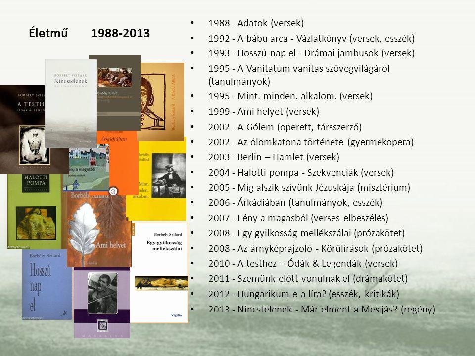 Életmű 1988-2013 1988 - Adatok (versek)