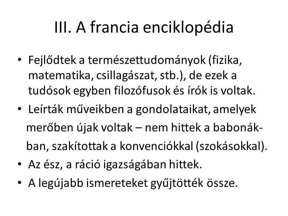 III. A francia enciklopédia