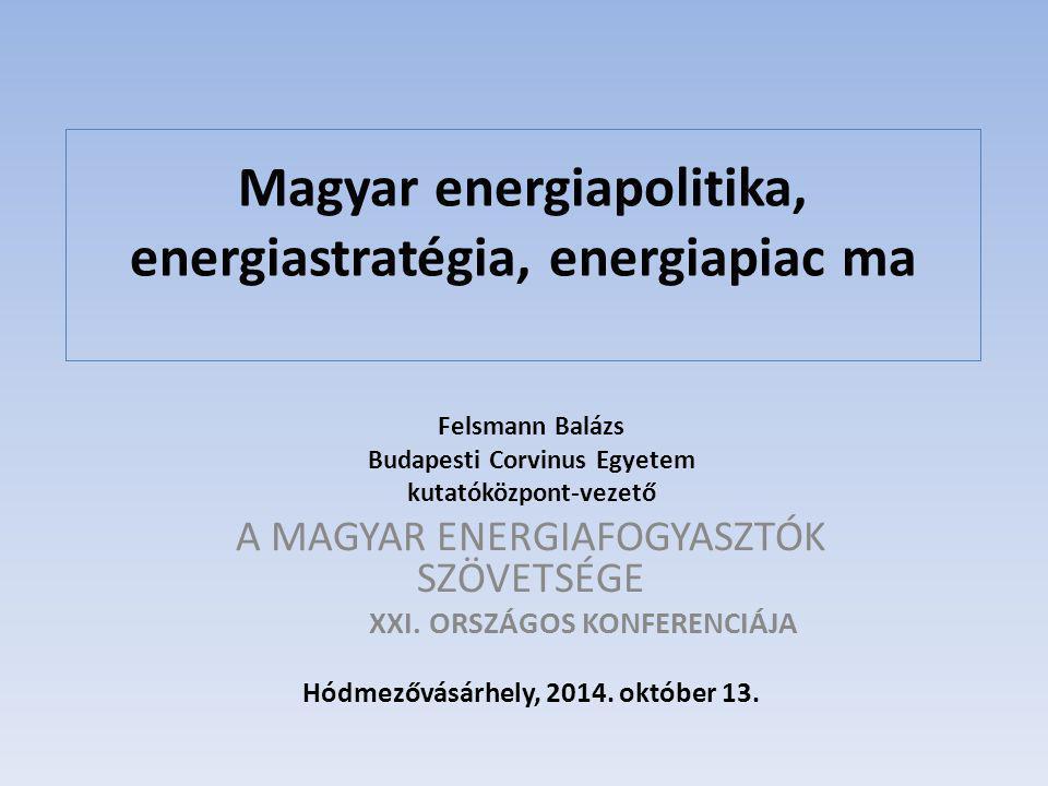 Magyar energiapolitika, energiastratégia, energiapiac ma