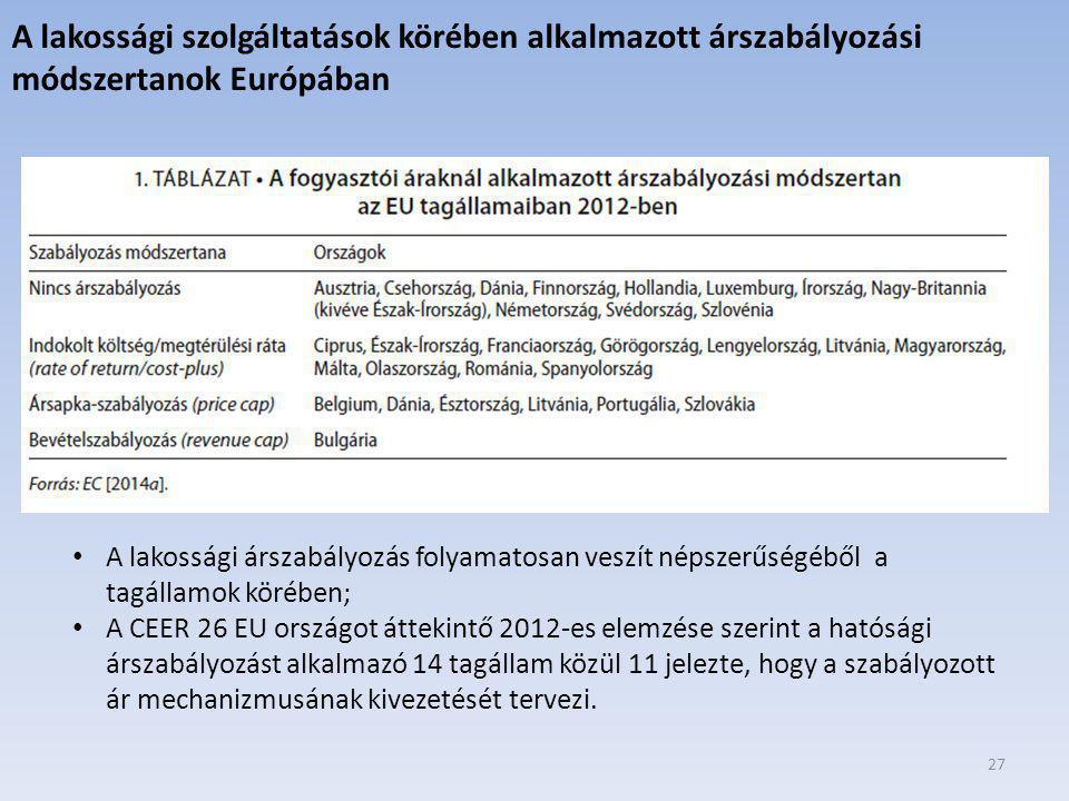 A lakossági szolgáltatások körében alkalmazott árszabályozási módszertanok Európában
