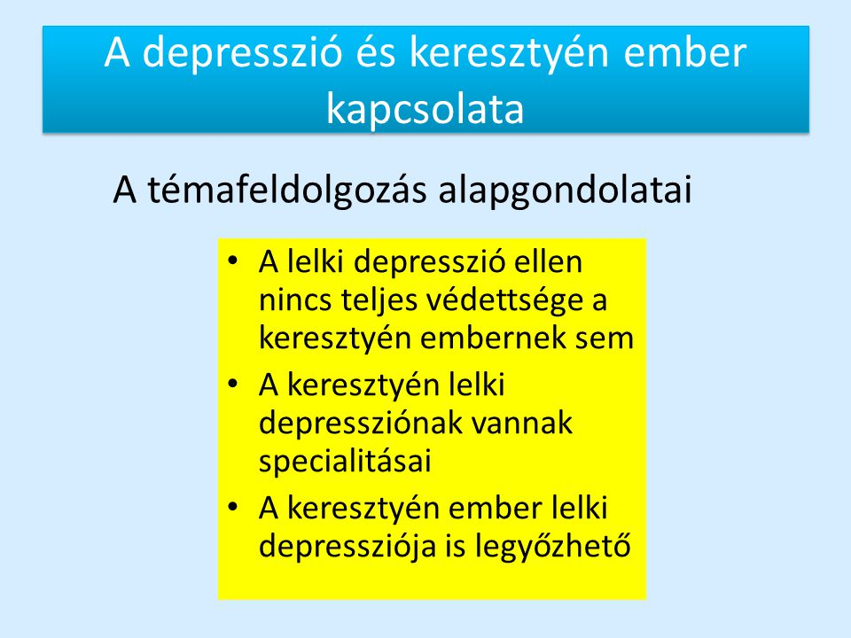 A depresszió és keresztyén ember kapcsolata