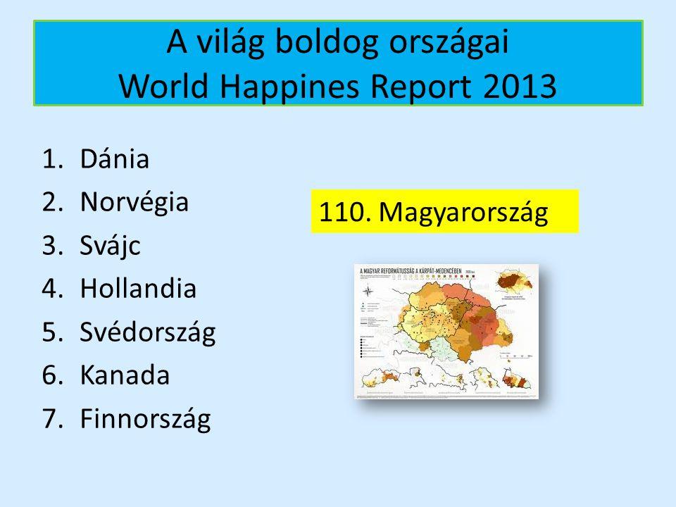 A világ boldog országai World Happines Report 2013