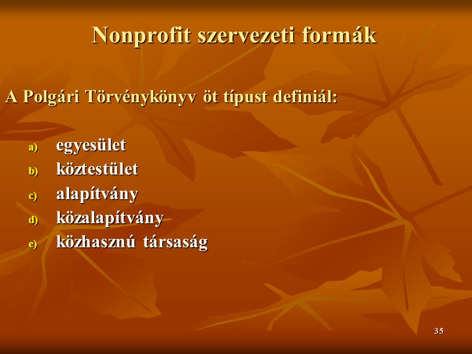 Nonprofit szervezeti formák