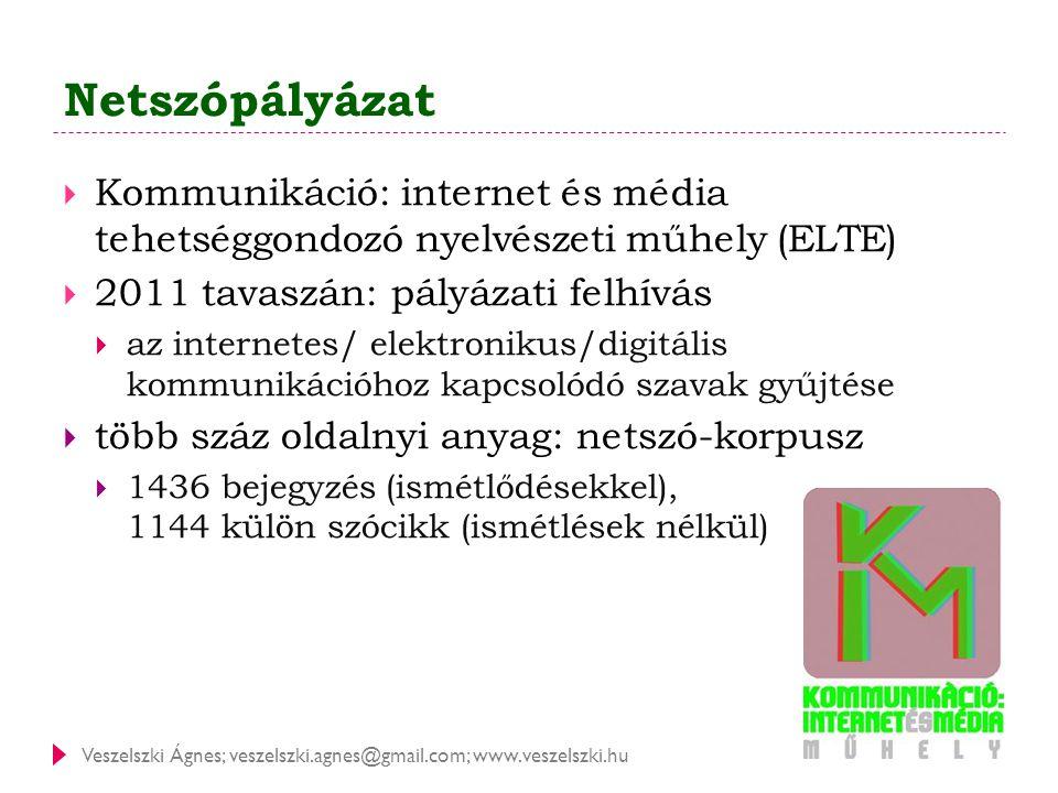 Netszópályázat Kommunikáció: internet és média tehetséggondozó nyelvészeti műhely (ELTE) 2011 tavaszán: pályázati felhívás.