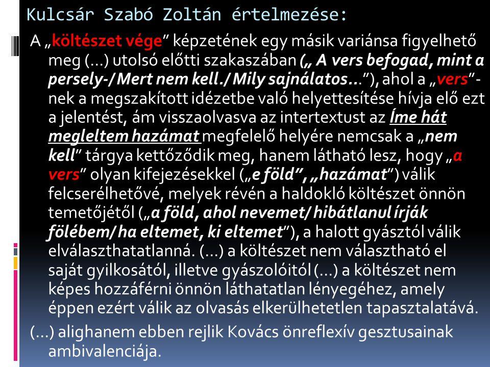 Kulcsár Szabó Zoltán értelmezése: