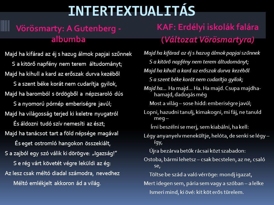 INTERTEXTUALITÁS Vörösmarty: A Gutenberg - albumba
