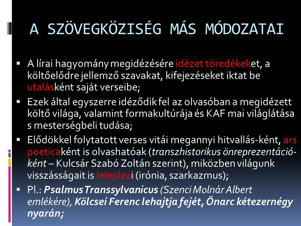 A SZÖVEGKÖZISÉG MÁS MÓDOZATAI