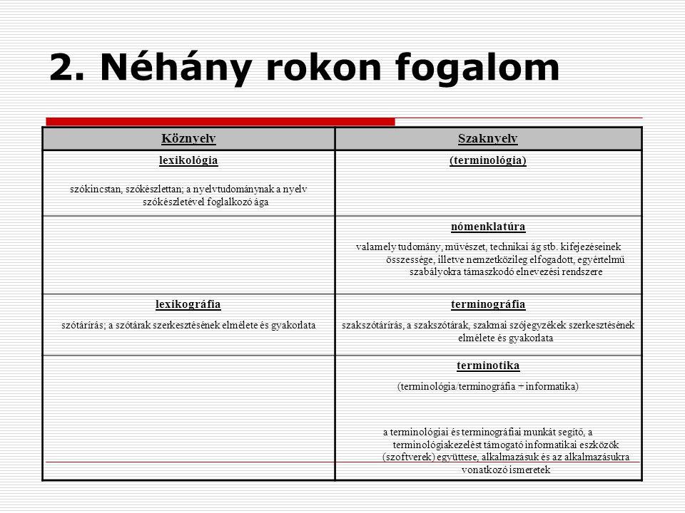 2. Néhány rokon fogalom Köznyelv Szaknyelv lexikológia (terminológia)