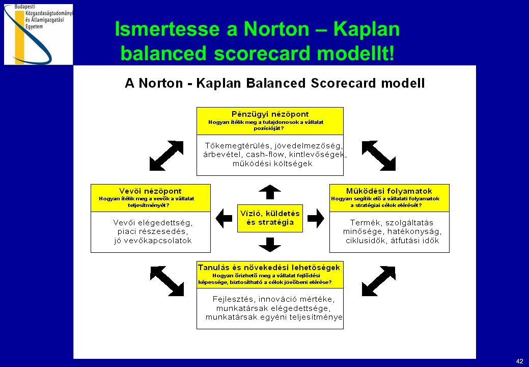 Ismertesse a Norton – Kaplan balanced scorecard modellt!
