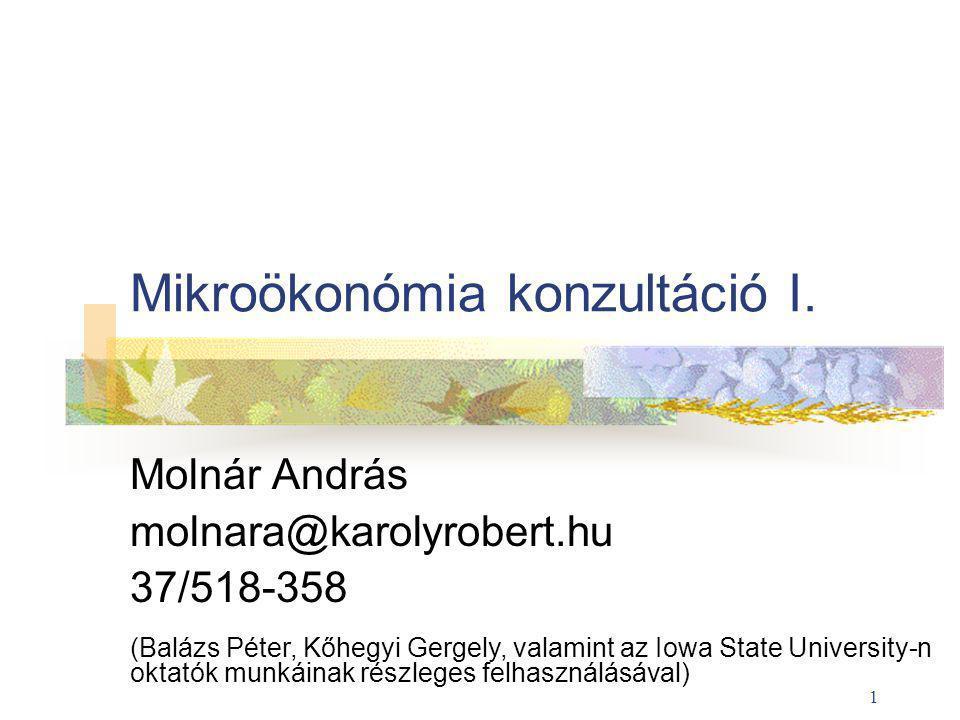 Mikroökonómia konzultáció I.