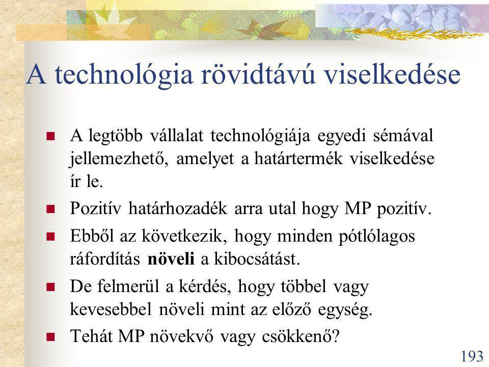A technológia rövidtávú viselkedése