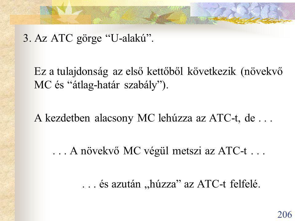 3. Az ATC görge U-alakú . Ez a tulajdonság az első kettőből következik (növekvő MC és átlag-határ szabály ).