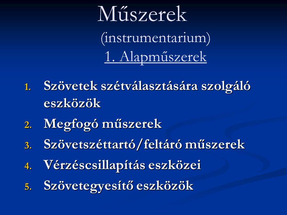 Műszerek (instrumentarium) 1. Alapműszerek