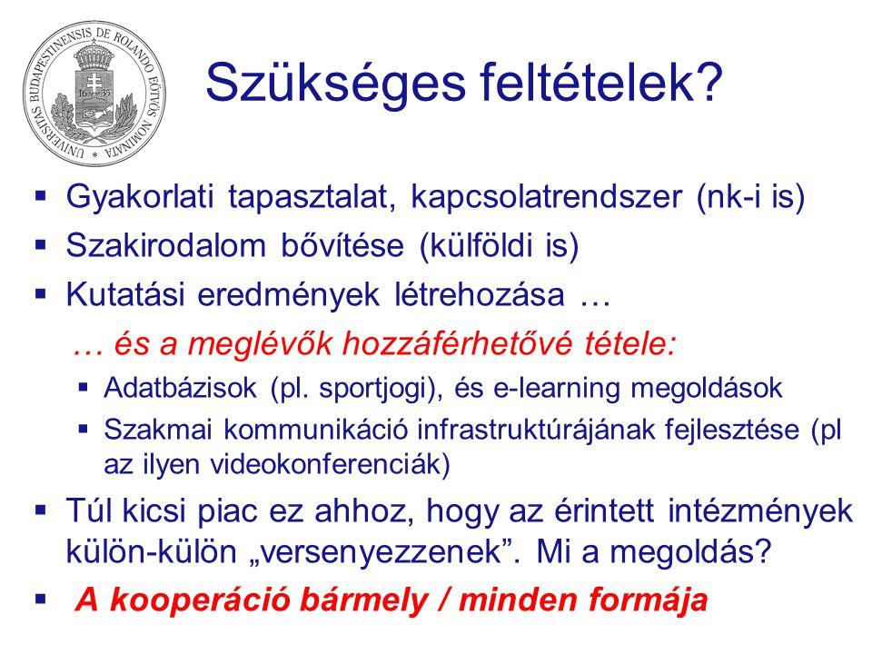 Szükséges feltételek Gyakorlati tapasztalat, kapcsolatrendszer (nk-i is) Szakirodalom bővítése (külföldi is)