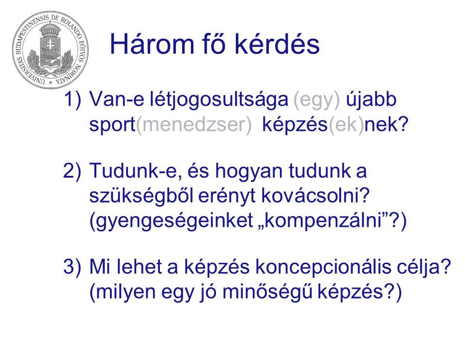 Három fő kérdés Van-e létjogosultsága (egy) újabb sport(menedzser) képzés(ek)nek