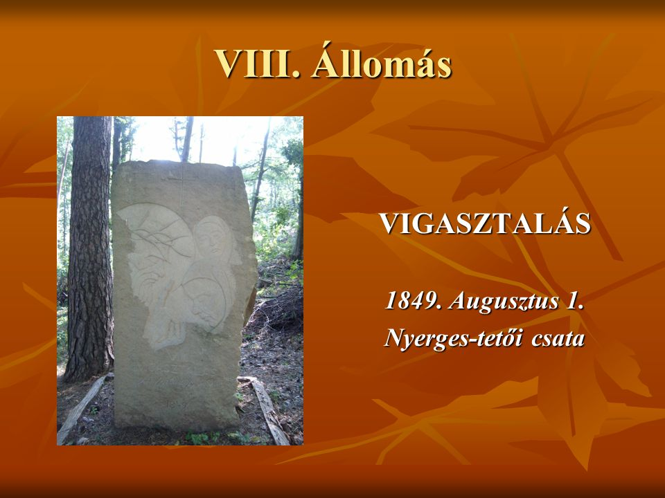 VIII. Állomás VIGASZTALÁS 1849. Augusztus 1. Nyerges-tetői csata