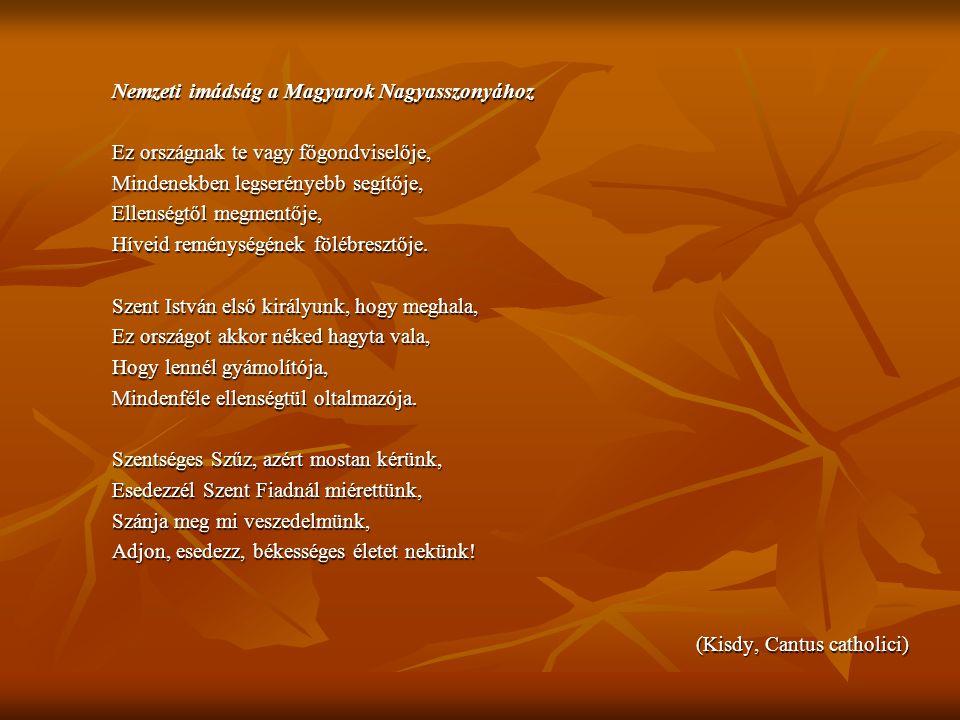 Nemzeti imádság a Magyarok Nagyasszonyához