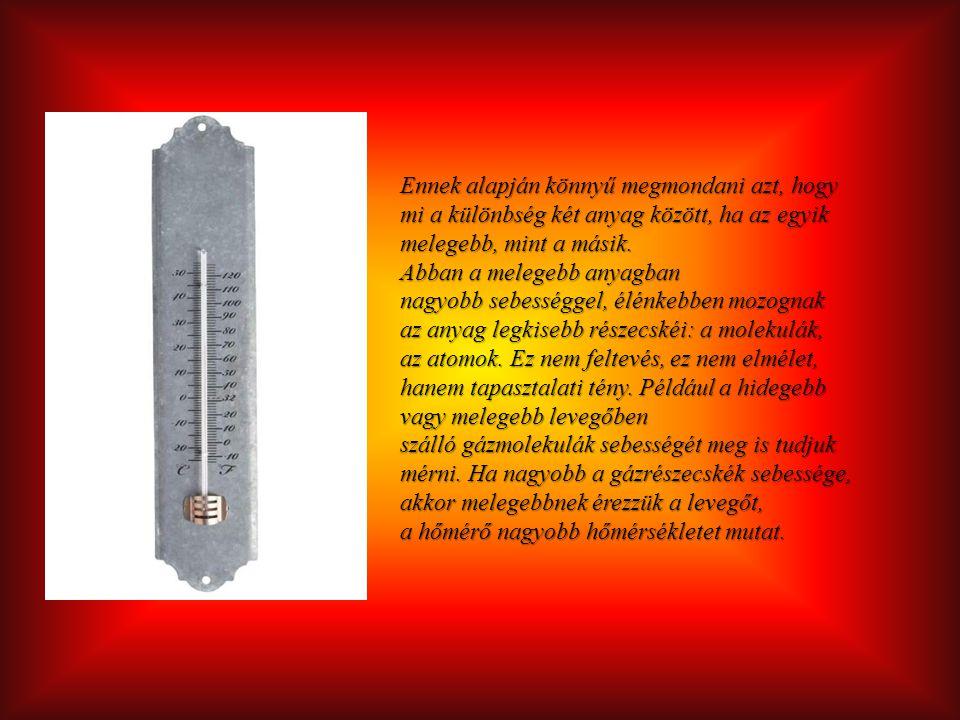 Ennek alapján könnyű megmondani azt, hogy mi a különbség két anyag között, ha az egyik melegebb, mint a másik.