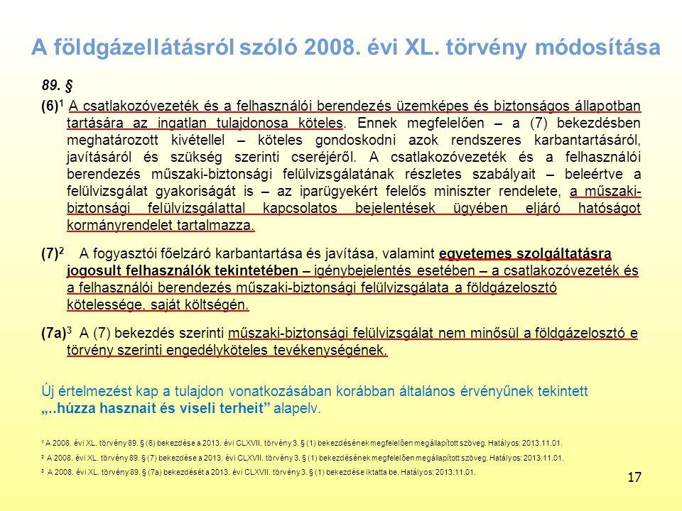 A földgázellátásról szóló 2008. évi XL. törvény módosítása
