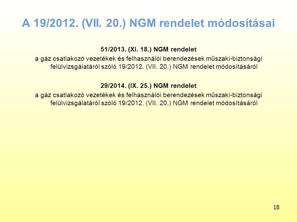 A 19/2012. (VII. 20.) NGM rendelet módosításai